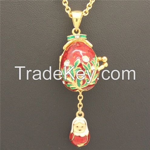 Faberge Egg Pendant Locket Russian Enamel Angel Egg Pendant