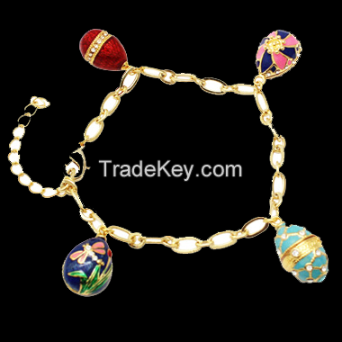 Personalized Fashion Jewelry enamel Easter Faberge egg bracelet for DIY