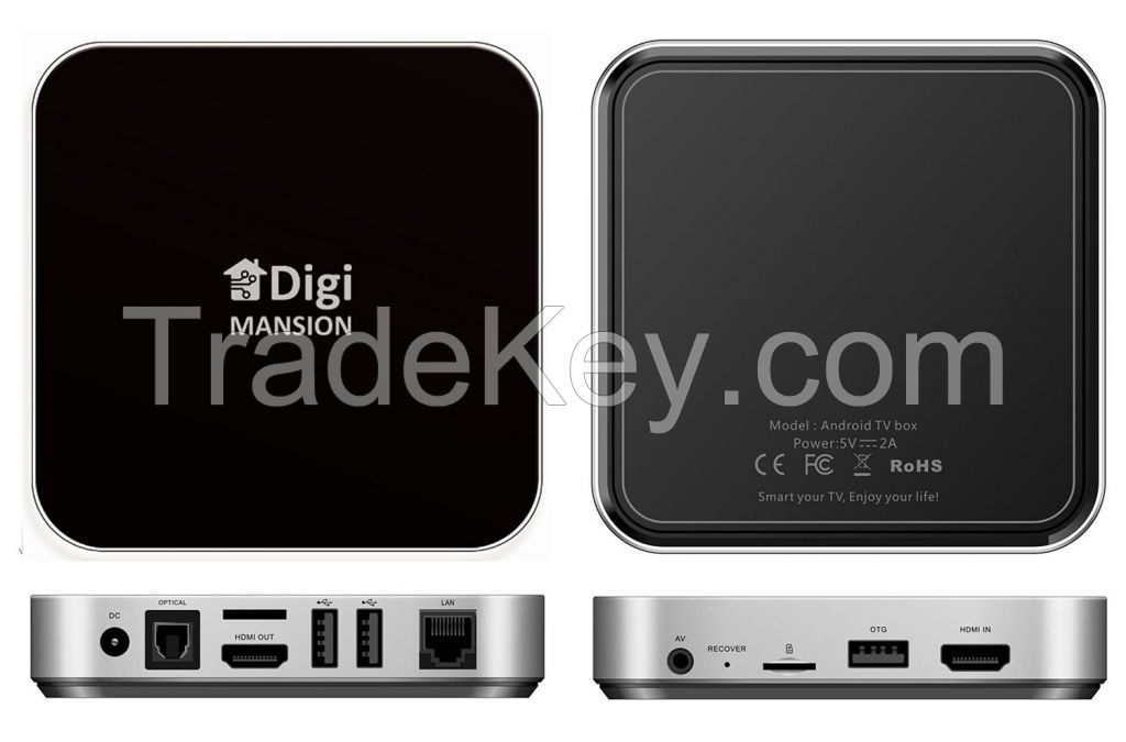 DigiMansion DM-V6 TV Box Quad core Ram 2G Memory 16G Ultra HD 4k2k RK3288 1.8 GHz Cortex A17 Android 4.4.2 HDMI In/Out Dual Band WIFI 2.4GHz/5.0GHz Bluetooth 4.0