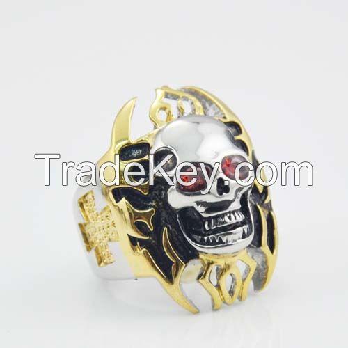 Fashion golden Halloween skull ring for wholesale