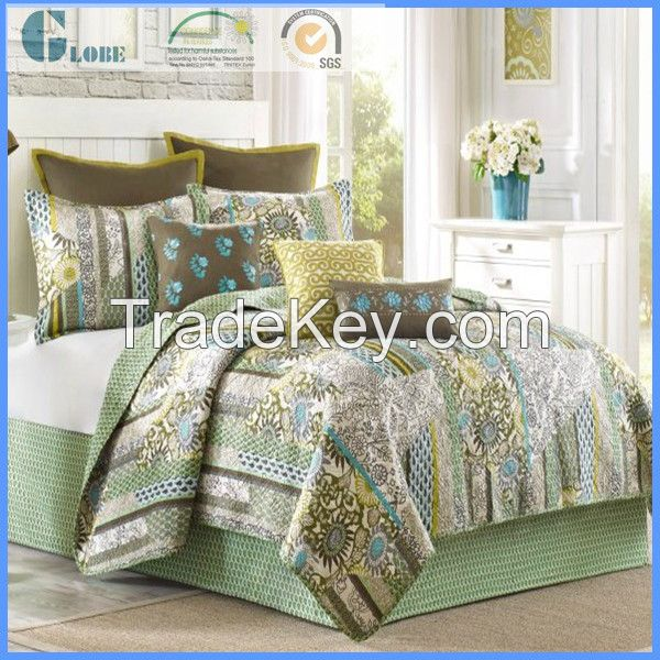 wholesale full size 100% microfiber printed patchwork quilt