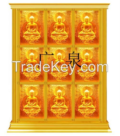 Coloured glaze buddhas wall