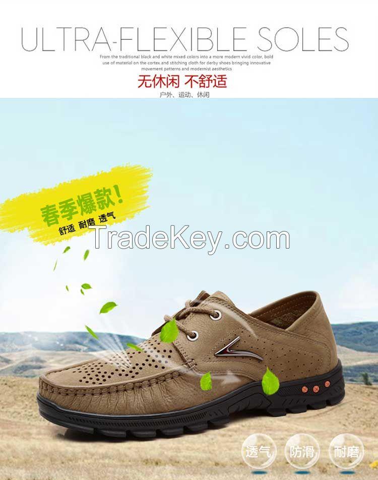2015 summer men's business shoes casual men's sandals leather shoes breathable mesh hollow Crocs