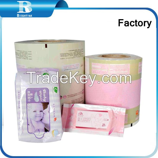 2015 plastic film packaging High Quality Transparent wet tissues PET packaging film, wrap wet tissues OPP plastic packing film roll