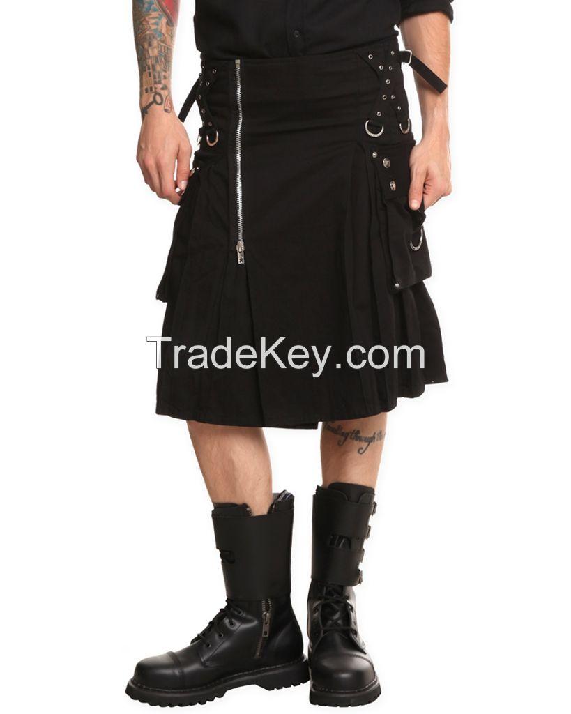 Black Gothic Zipper Fashion Utility Kilt