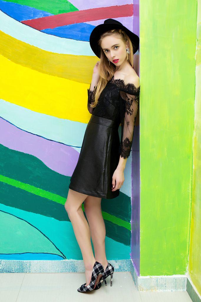 YIGELILA 2015 Spring Women Sexy Mini Lace Fashion Black Evening Dress