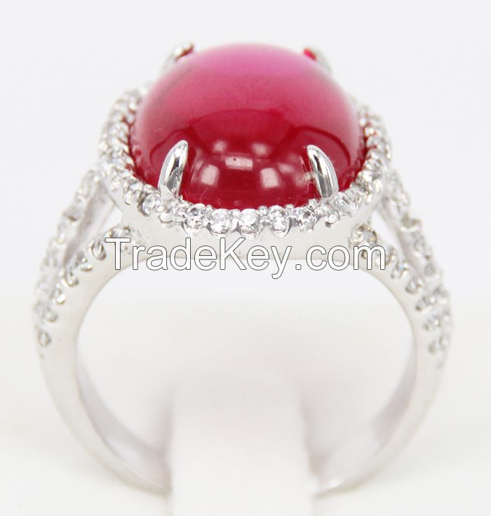 2015 New Style 925 sterling silver rings Red corundum