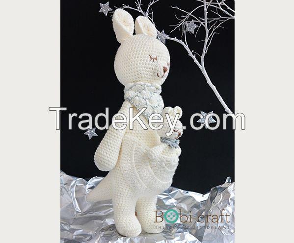 Kangaroo, Soft wool handmade, hand knitted crochet toys, decoration, toys amigurumi EN71