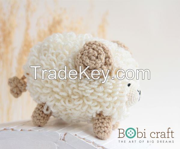 Ms. Shallis the sheep - soft wool handmade plush toys, hand knitted crochet toys gifts for children