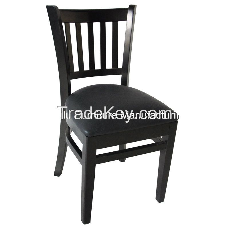 Wooden Chair for Restaurant with Vertical Slat Side (ALL-1002)