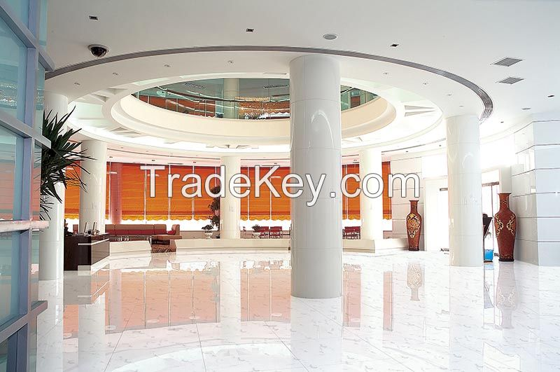 White marble crystallized glass non slip acid resistant polished porcelain wall and floor tiles