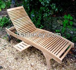 Sun Lounger - Mini Tray - Outdoor, Garden - Teak Wood