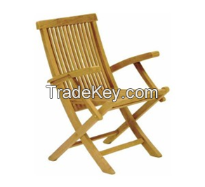Folding Chair with Arms-Garden Furniture-Wood-All measures possible