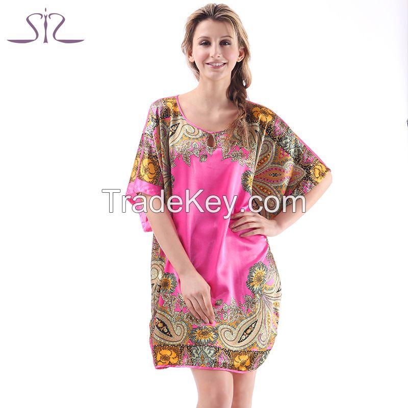 Time-limited Summer Silk Sleepwear For Women New Fashion Heart Shape Print Round Neck Women Nightgown