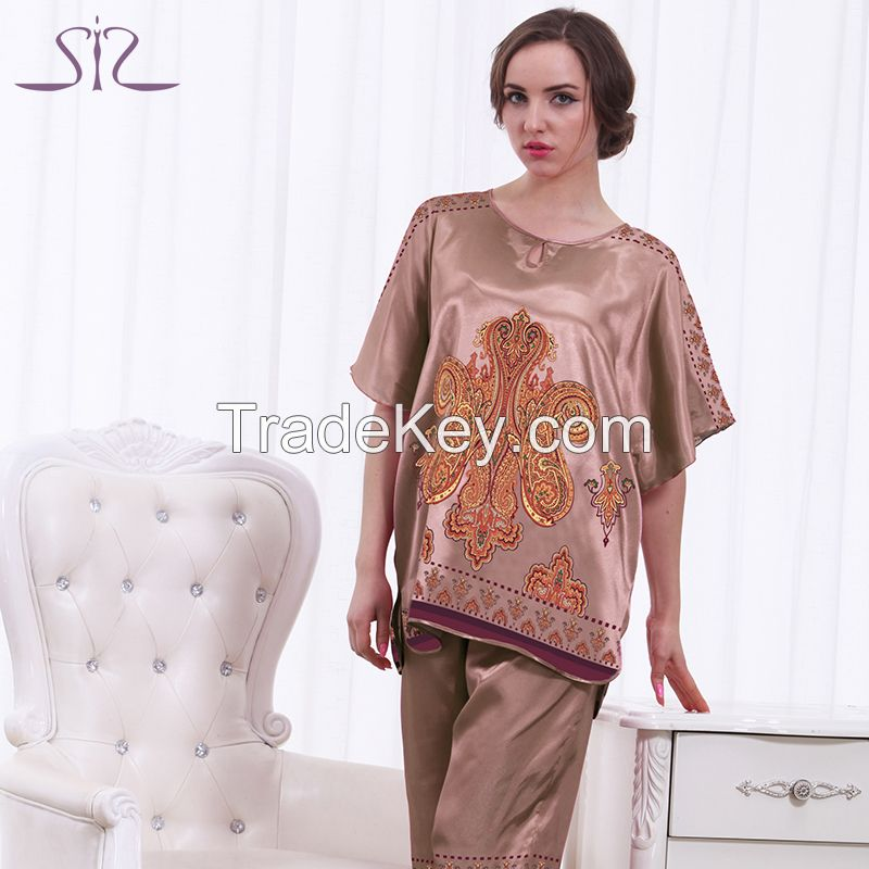 Top Promotion Summer Silk Women Pyjamas Of Sleep Tops Satin Lace Sexy Women's Bathrobe For Home Clothing