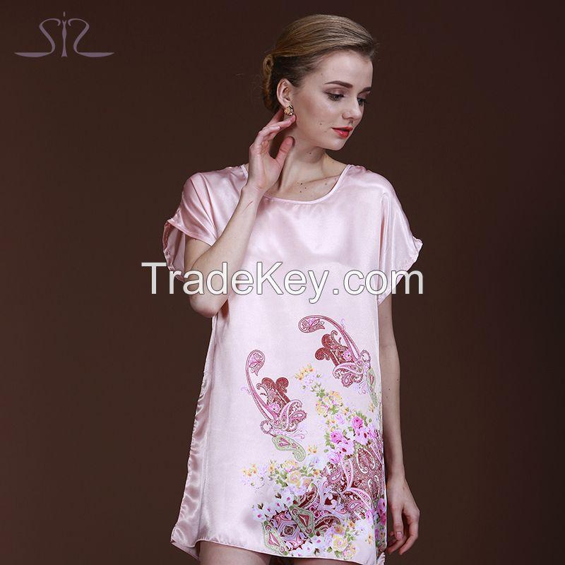 2015 Time Rushed Spring Summer Pink Women Sleepshirt Short Sleeve Floral Print Satin Nightgown For Women