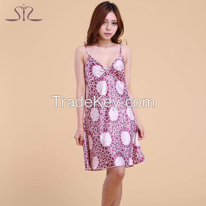 2015 New Arrival Summer Silk Kigurumi Pyjama For Women Satin Floral Print Sexy Women Nightgown For Home Suit