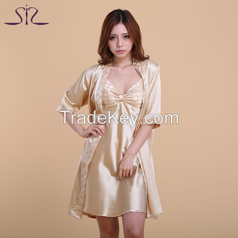 2015 Top Sale Women bath robe and Nightgown 2 Piece Sexy Noble Robe Set Of Kigurumi Bathrobe For Women