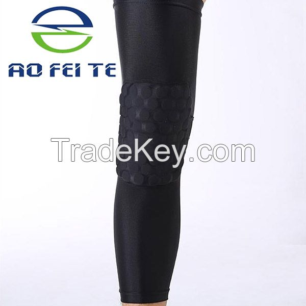 Compression Honeycomb Sports Basketball Knee Sleeve Pads with various color