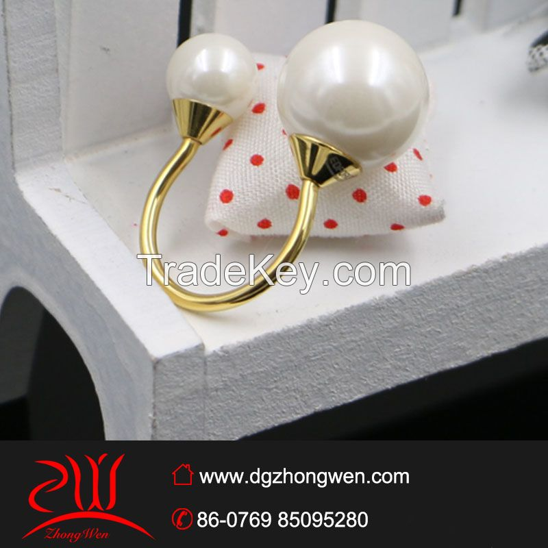 hot sale stainless steel  imitation pearl ring for women