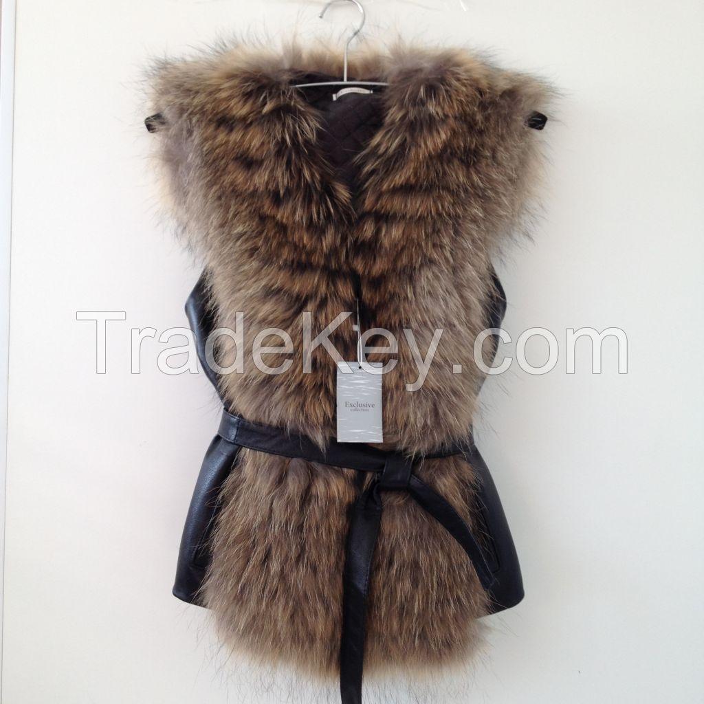 Beautiful spectacular coat  vest of fur   RACCOON