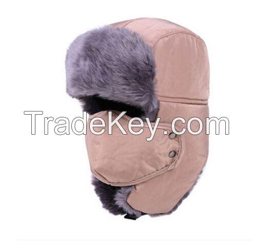 winter Hat With Mask Unisex  Earflap Warm Ski Trapper Aviator Faux Fur Bomber hat
