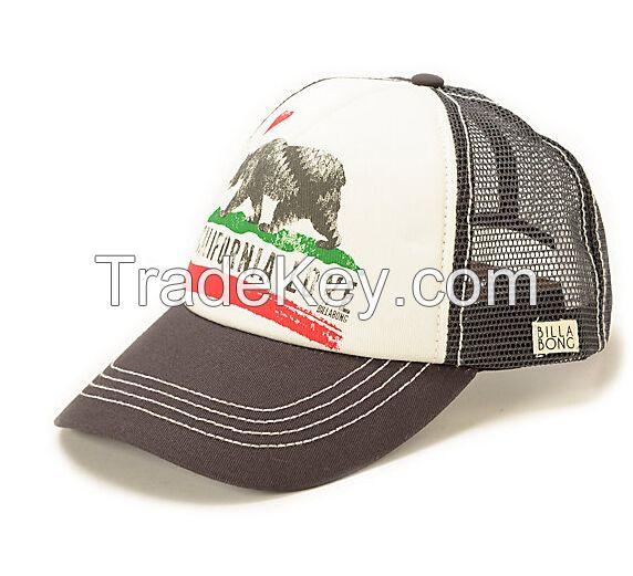 jersey knit fabric nylon polyester mesh custome sublimation print logo 5 panel trucker hat cap