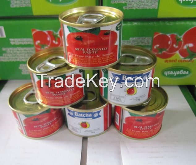 High Quality Canned Tomato Paste 70g~4.5kg with Brix 22-24% and 28-30% or Customized
