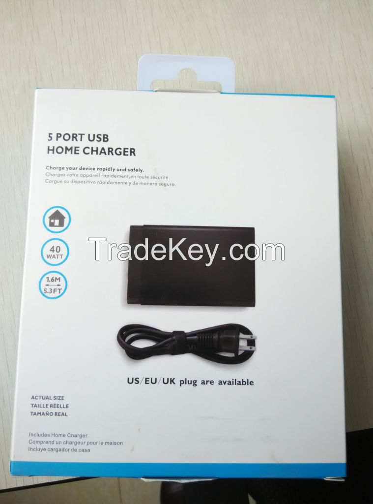 Factory manufacture for multi charger/car charger 5USB wall charger 8.0A output
