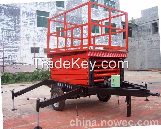 Vertical Four-wheel Manual mobile hydraulic scissor lift
