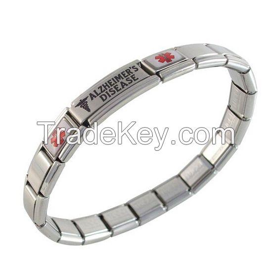 9mm stainless steel 18 links medical ID alert Italian charm bracelet