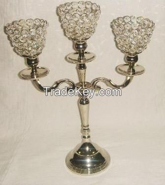 Crystal Candle Holders with Aluminium Stand