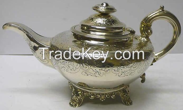 Brass Steel Silver Teapot