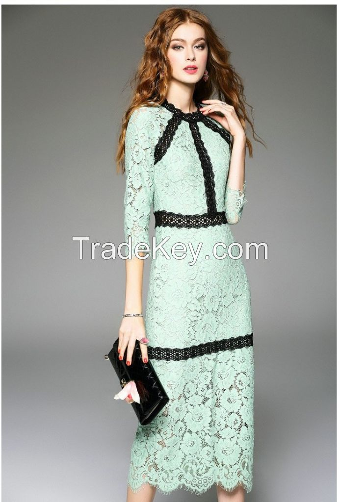 New arrival luxury design women fashion lace bridesmaid party dress with cheap price