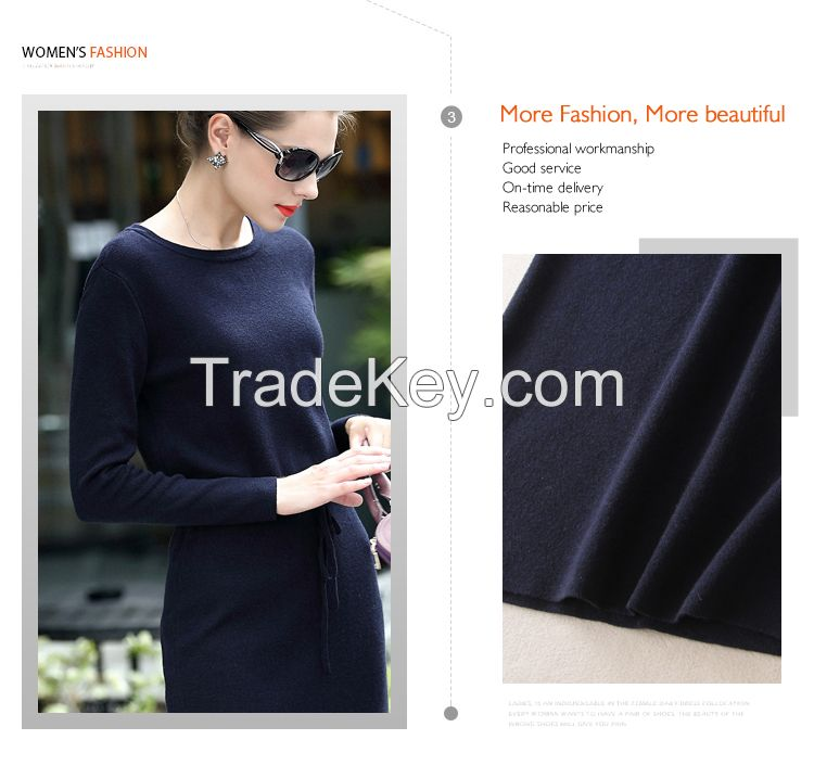 Hot sale ODM/OEM long sleeve slim fit side open women sweater dress