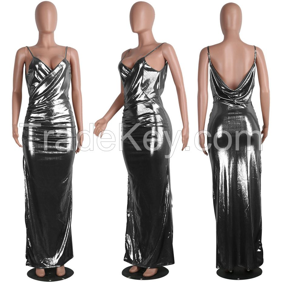 Women bandage Dress Celebrity summer style Dress Club Party Bodycon Gold Maxi Dress