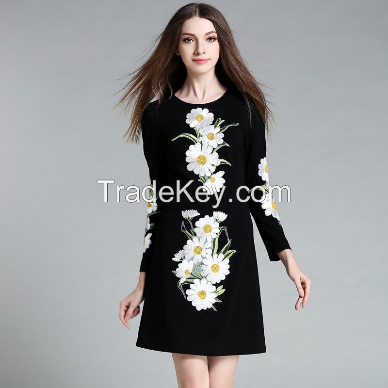 long sleeve french fashion clothing women clothes ladies embroidered dress