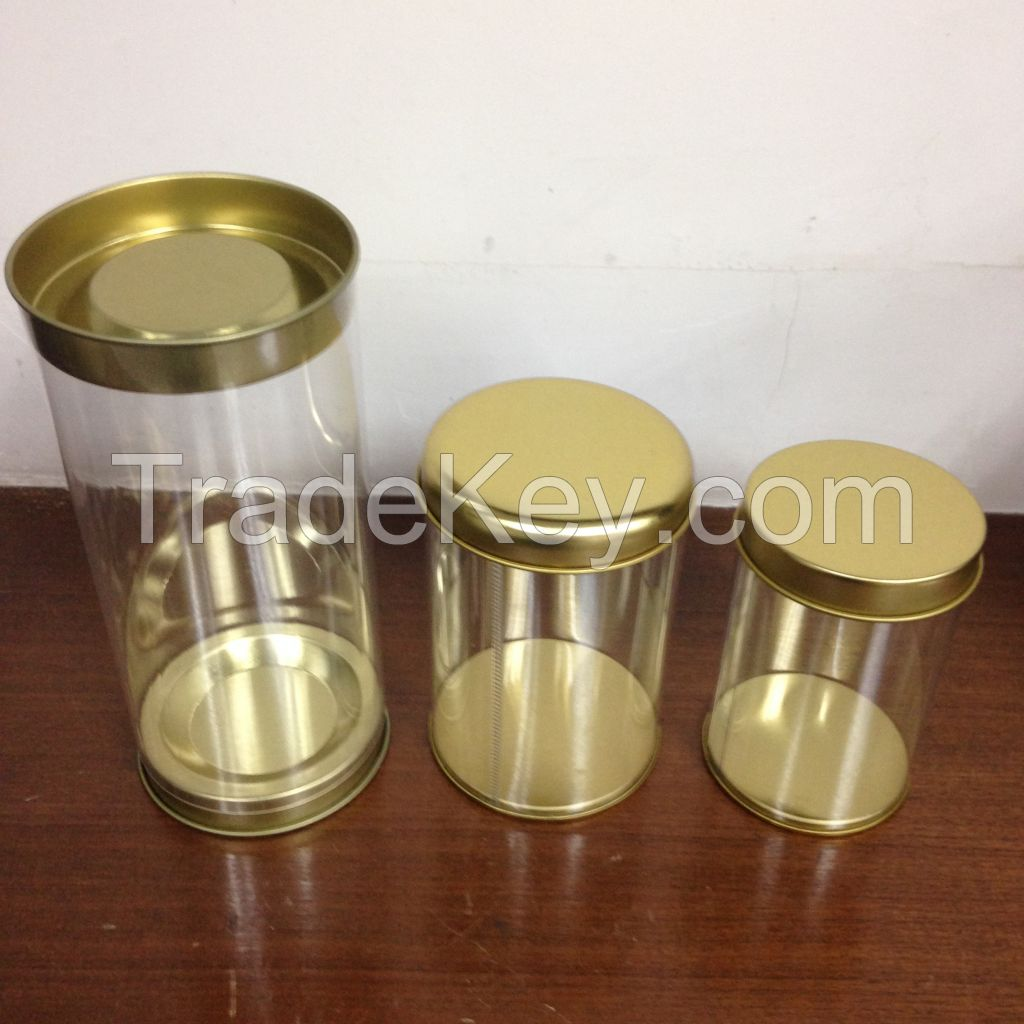 Supply the transparent plastic cans, tin cans, clear plastic PET envir