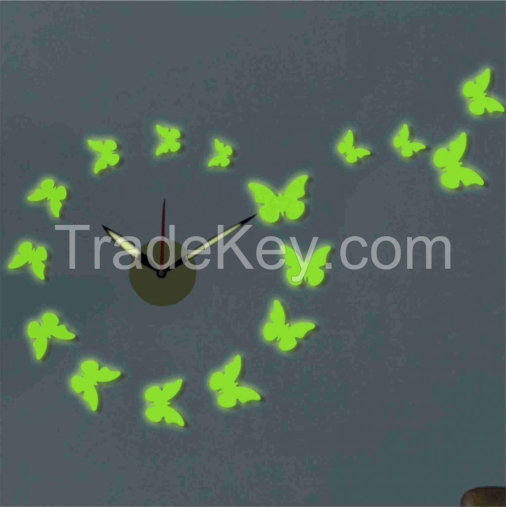 butterfly EVA wall clock, diy sticker clock grow in dark for living room decor
