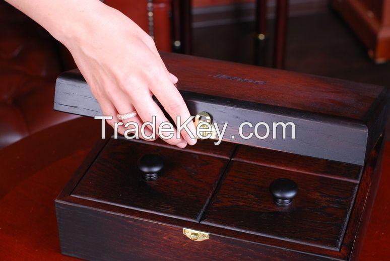 English tea box made of wood.