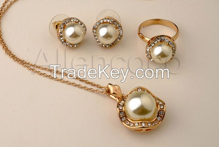 New Arrival Wedding Jewelry Set African 18K Gold With Austrian Crystal Pearl Bride Jewelry set