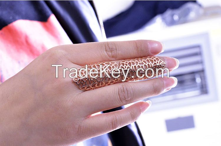 New Design Women Flower Latest Gold Finger Ring Designs,Large Big Size Open Rings,Knuckle Ring Midi Fashion