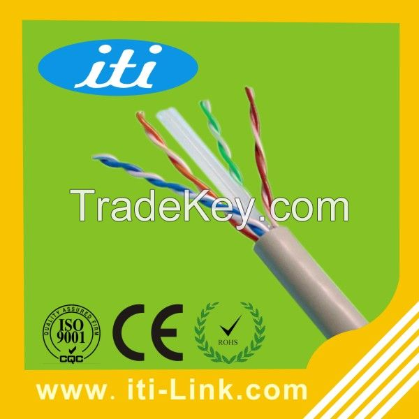 High Quality Bare Copper 24AWG Cat6 UTP LAN Cable Network Cable with CE/ISO/ROHS Approved