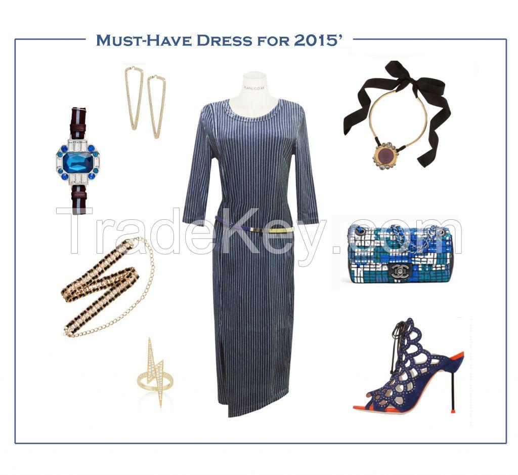 Vintage Denim Blue Body-con Dress 2015