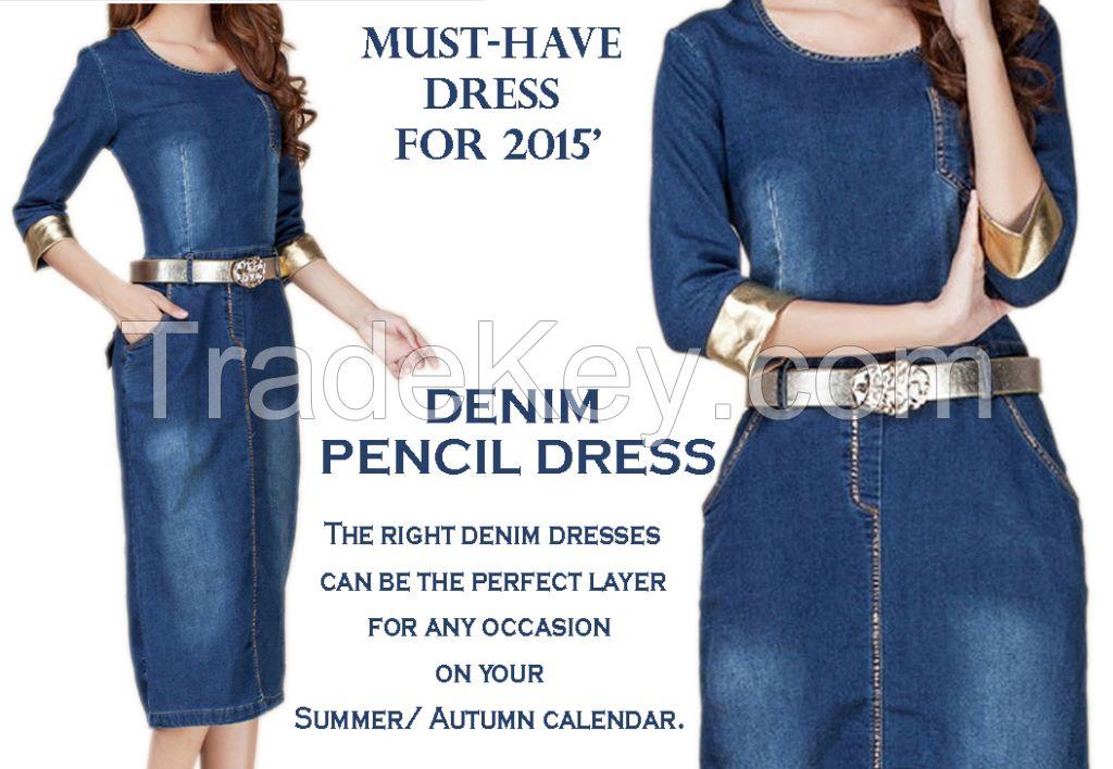 Denim Pencil Dress w/Golden Cuff 2015 Summer
