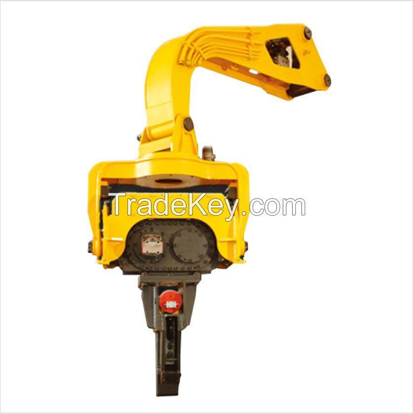 Excavator vibratory hammer hydraulic pile driver