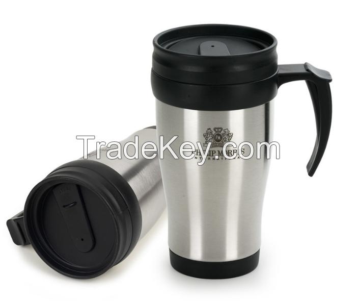 romotional 16 oz double wall plastic travel mug with bpa free