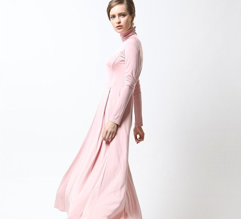 Flowing Turtleneck Manufacturer Maxi Long Dresses for Women Islamic , for new arrival