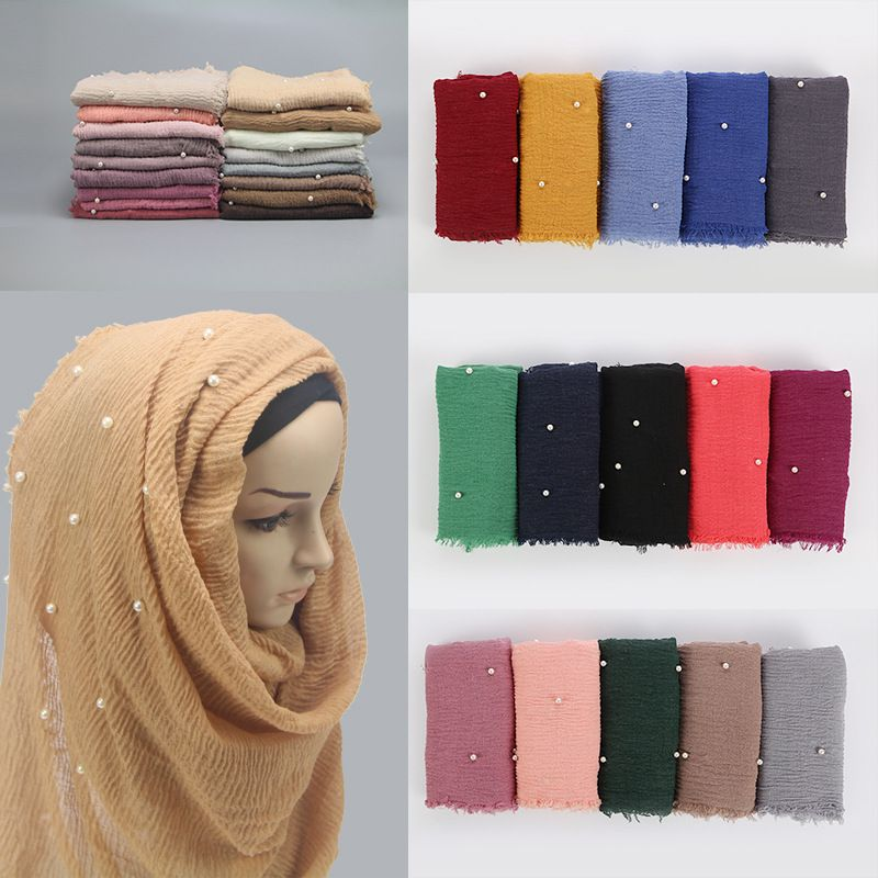 Fashion Luxury Summer Beach Lightweight Cotton Voile Hijab Scarf With Pearls Customized Design Beaded Bulk Scarves Shawl