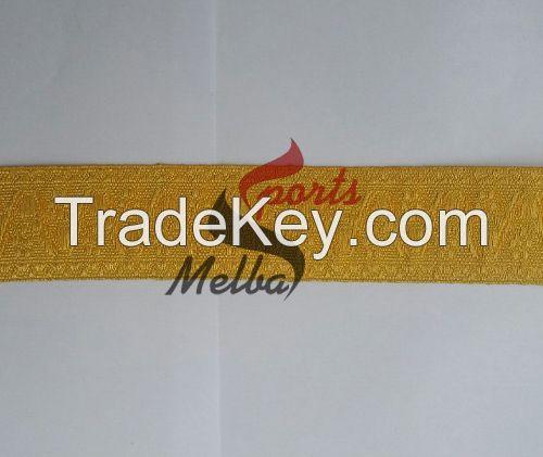 Gold Double Black Stripe Lace